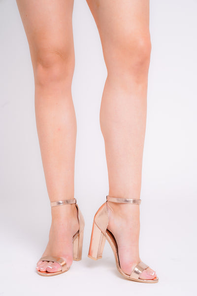 Siena Gold Patent Barely There Block Heels