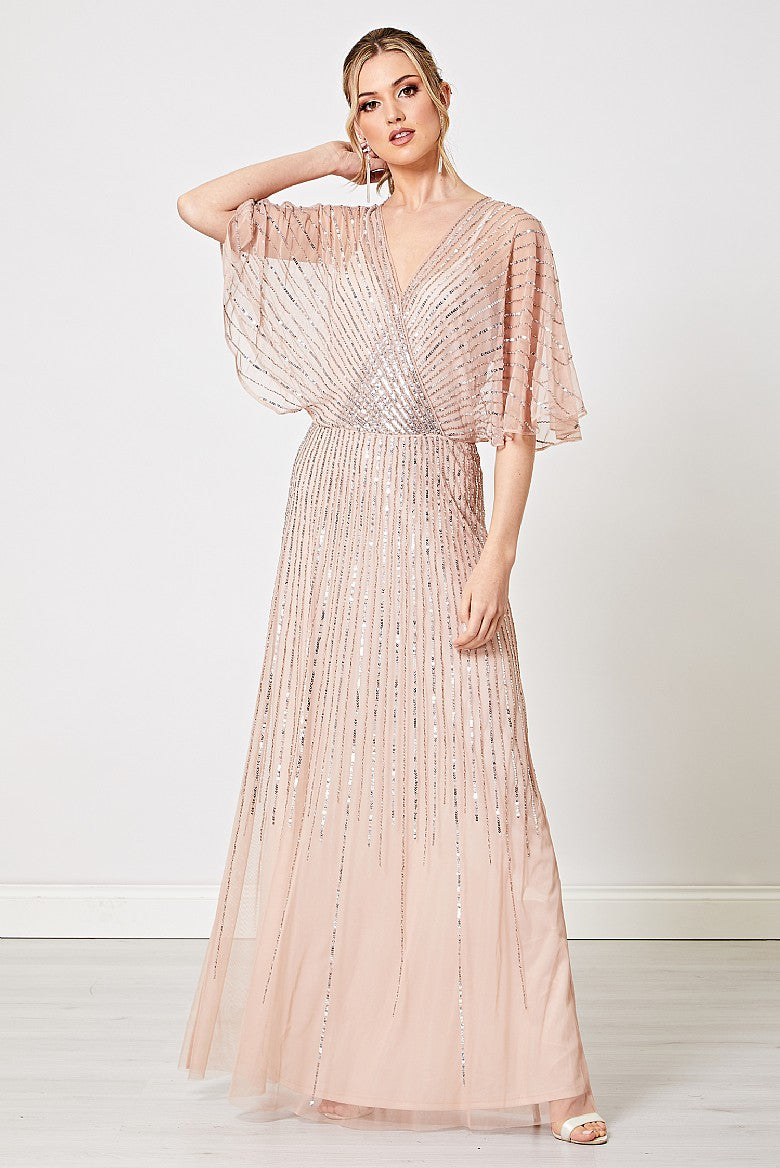 Allegra Blush Pink Embellished Flutter Sleeve Maxi Dress