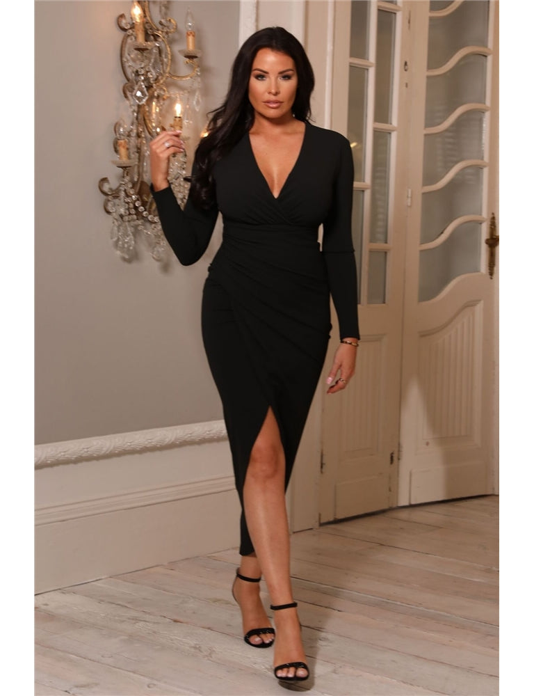 Ambey Jessica Wright Black Deep V-Neck Midi Wrap Dress