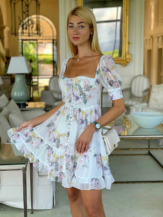 Angelique White Floral Midi Dress
