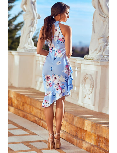 LEONA BLUE HIGH NECK FRILL MIDI DRESS