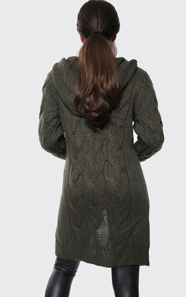 Hooded Cable Knitted Longline Cardigan