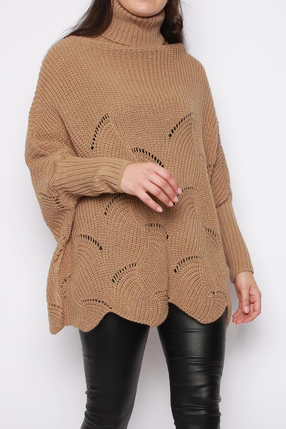 Wool Blend High Neck Oversized Pattern Knitted Longline Jumper