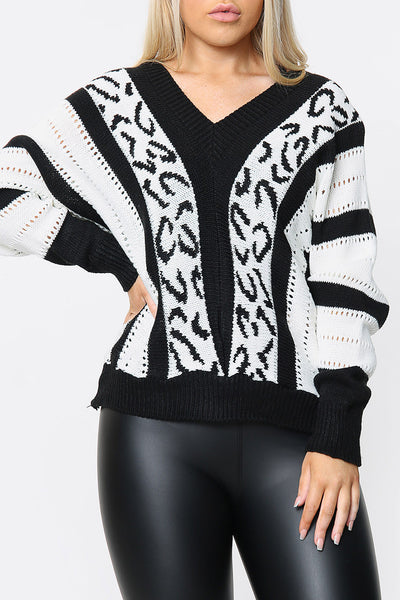 Chevron Stripe V-neck Knitted Jumper with Leopard Detail