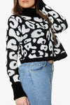 Leopard Roll Neck Cable Knitted Jumper