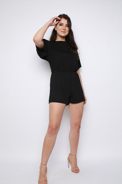 Ribbed Batwing Sleeve Playsuit