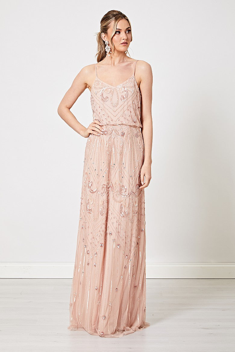 Camilla Light Pink Embellished Sequin Cami Maxi Dress