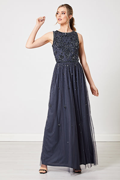 Carla Navy Embellished Floral Sequin Maxi Dress