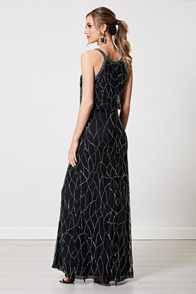 Chiara Dark Green Sequin Embellished Cami Maxi Dress