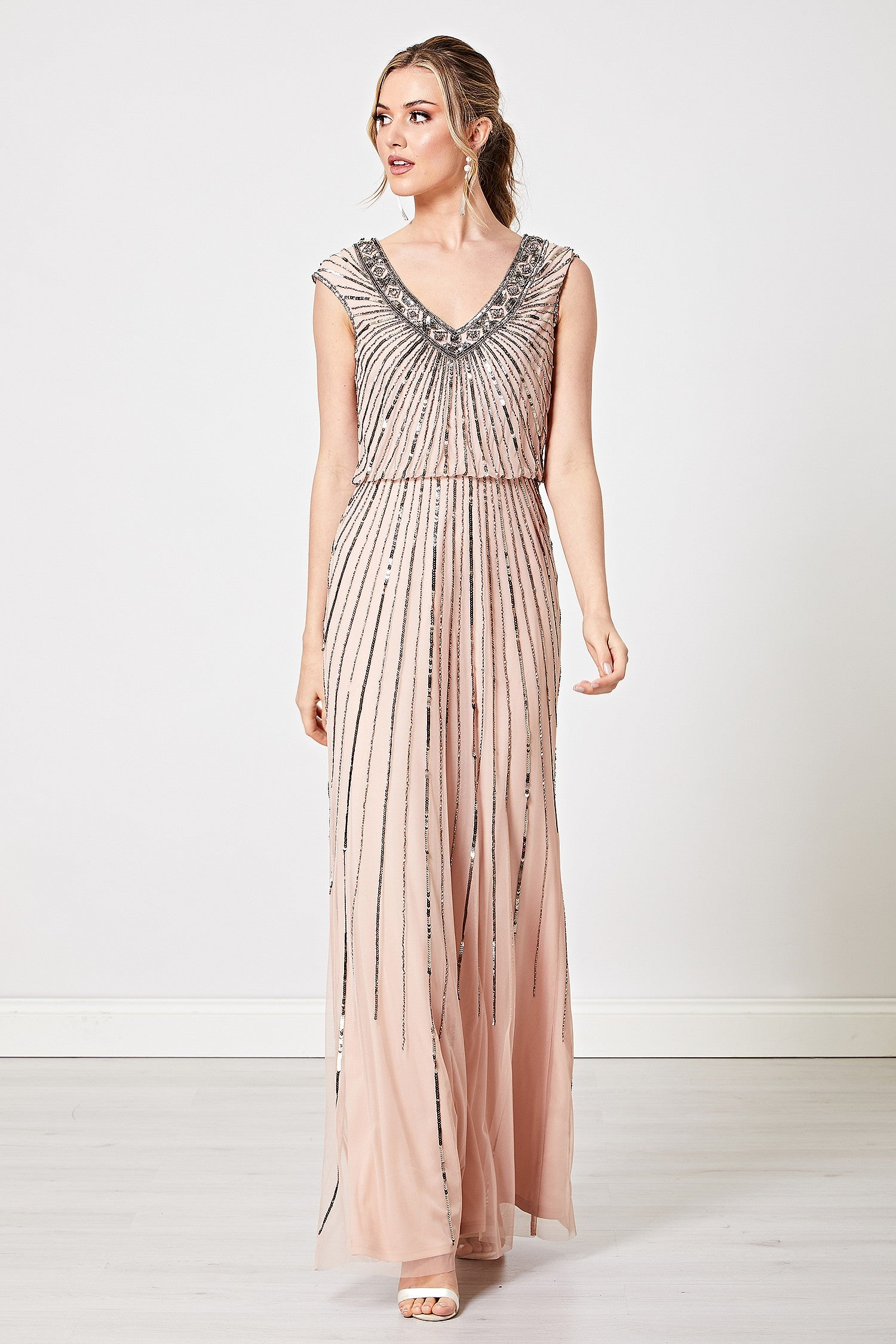 Cristina Nude V Neck Embellished Maxi Dress