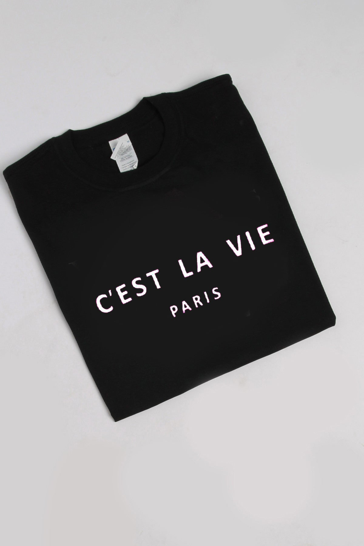 C'est La Vie Paris Slogan T-shirt in Black