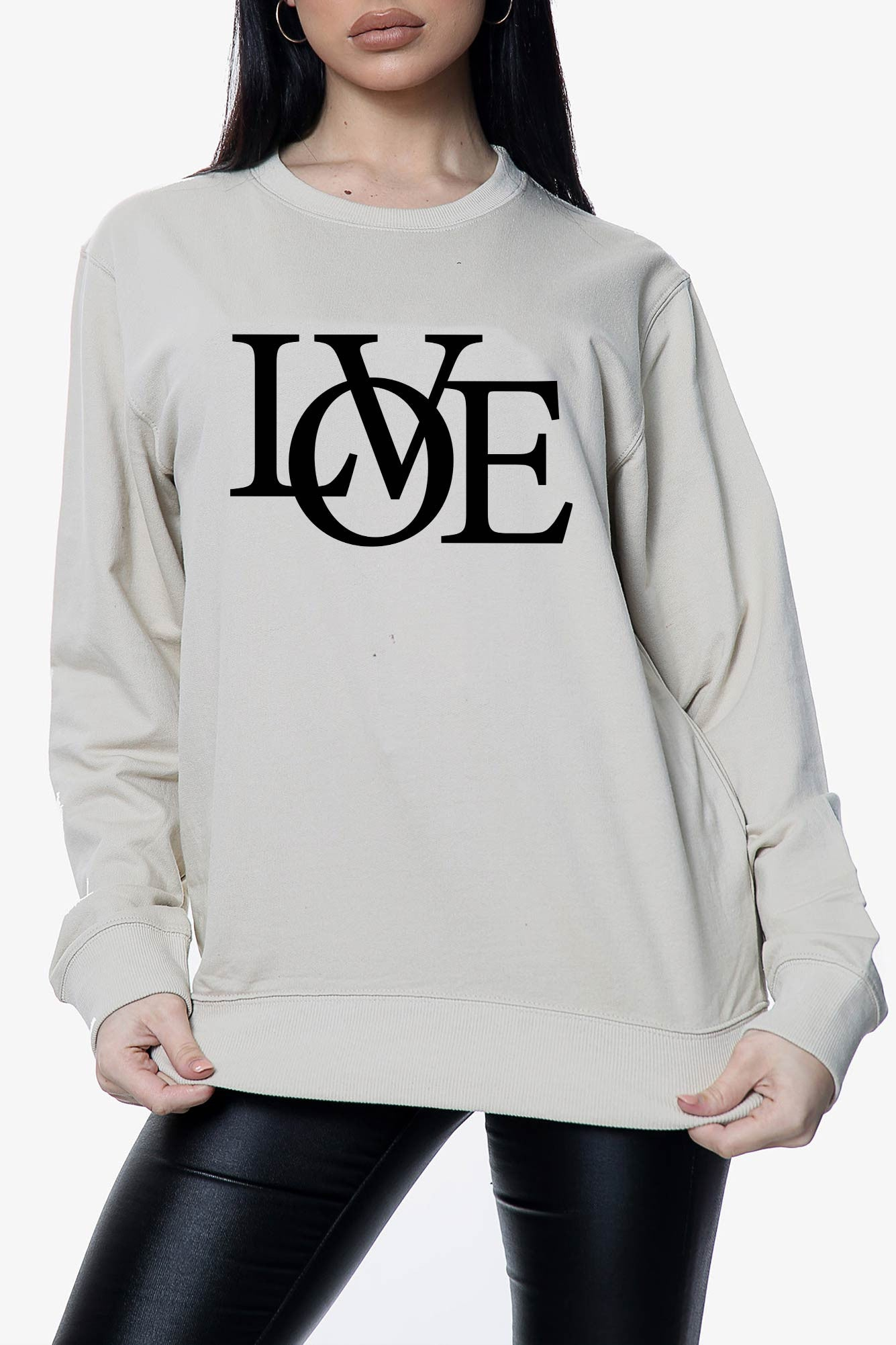Love Slogan Oversized Sweatshirt