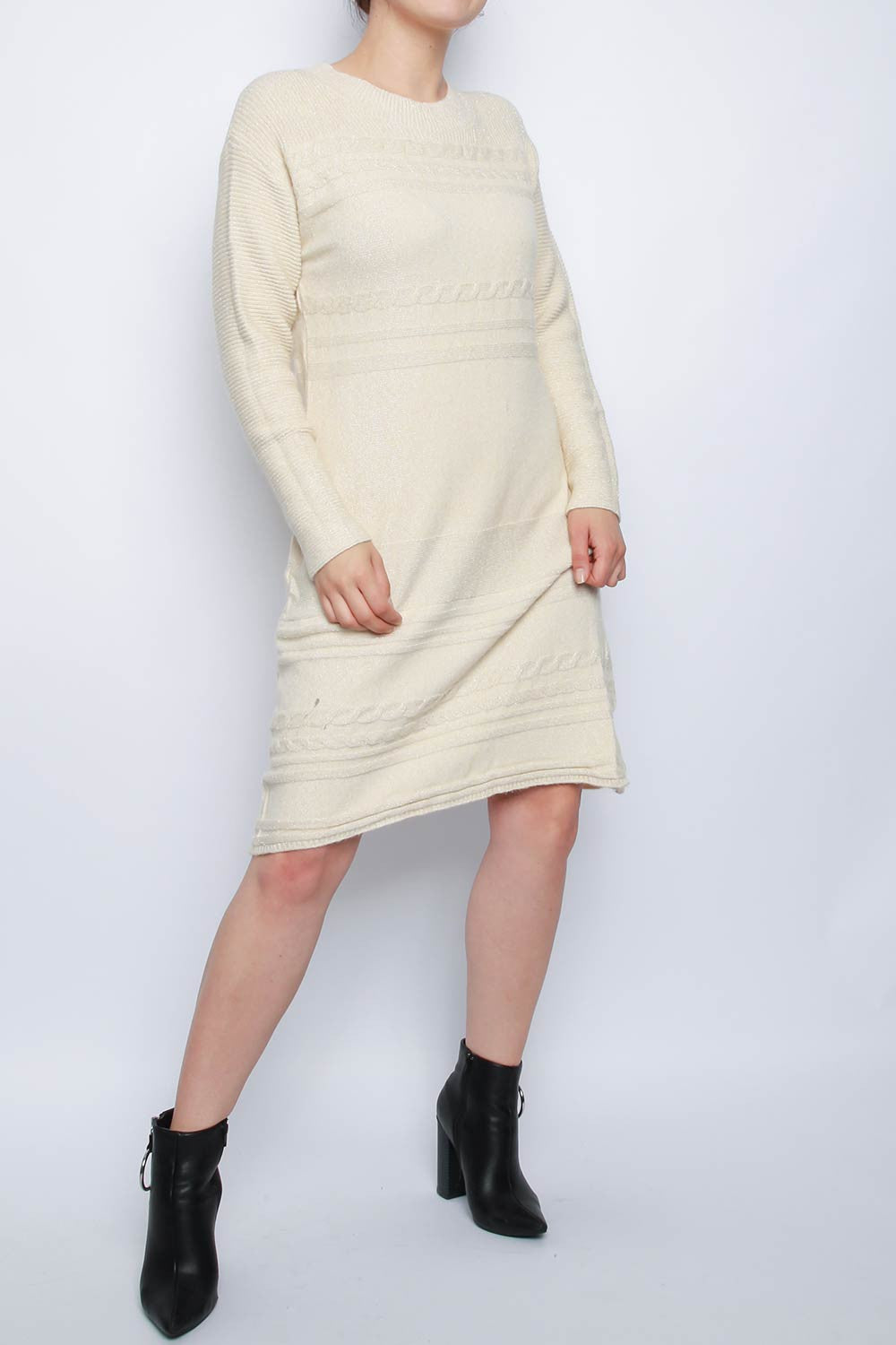 Metallic Knitted Midi Jumper Dress