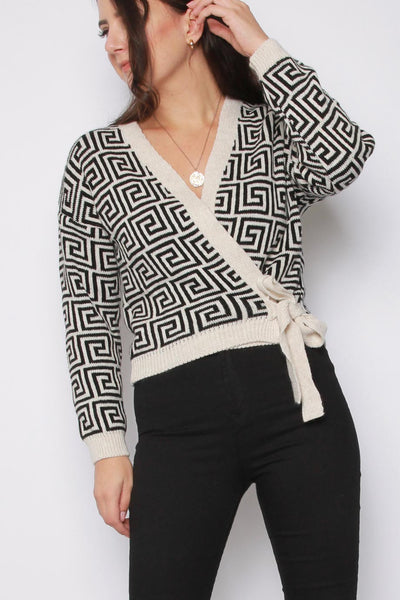 Geometric Wrap Tie Front Knitted Cardigan