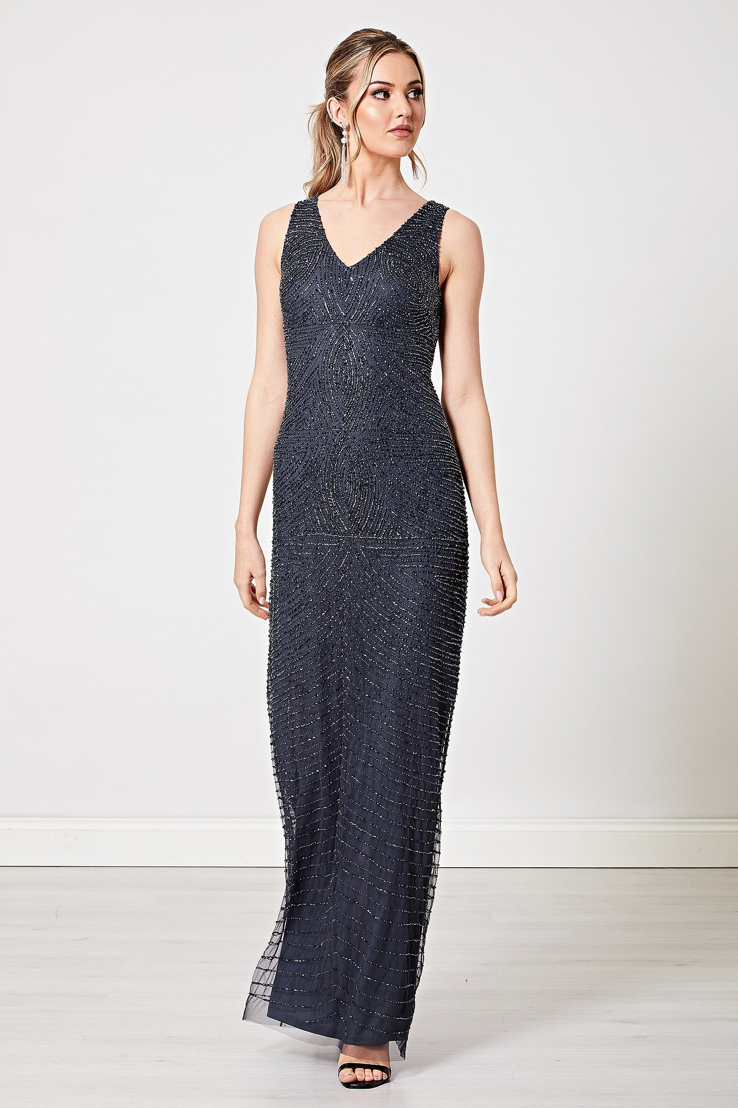 Eda Navy Embellished Sequin Backless Maxi Dress