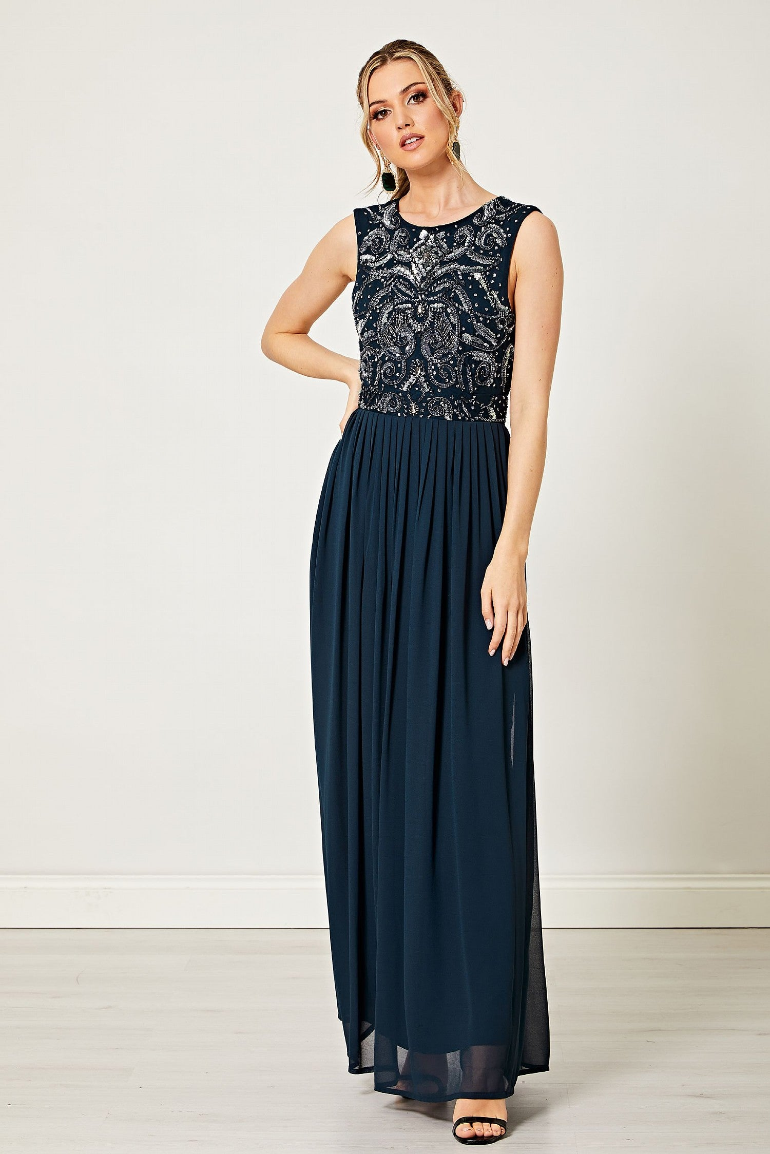 Elvira Navy Sleeveless Silver Embellished Maxi Dress