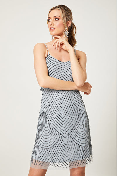 Gianna Light Blue Stripe verziertes Minikleid