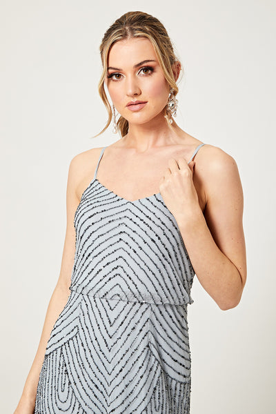 Gianna Light Blue Stripe Embellished Mini Dress