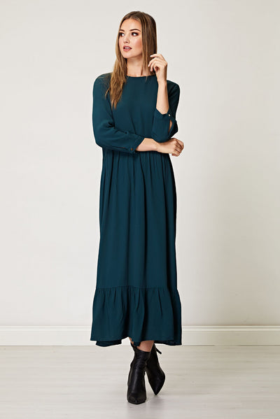 Emerald Green Maxi Smock Dress