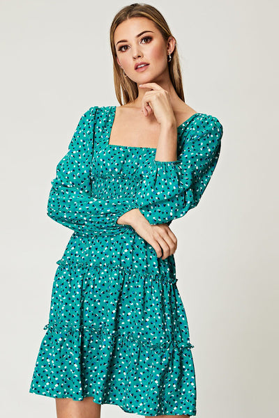 Square Neck Puffed Sleeves Smocked Mini Dress in Green