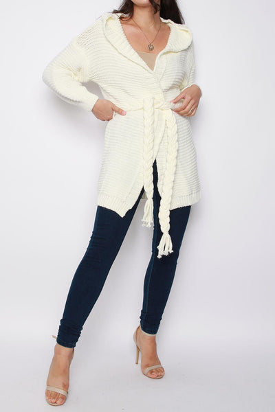 Belted Hooded Knitted Cardigan
