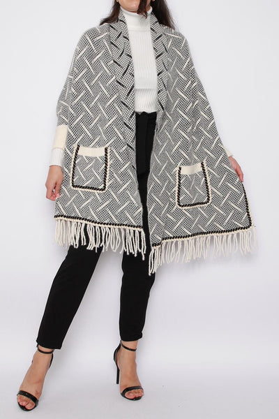 Patterned Knitted Poncho Shawl with Sleeves