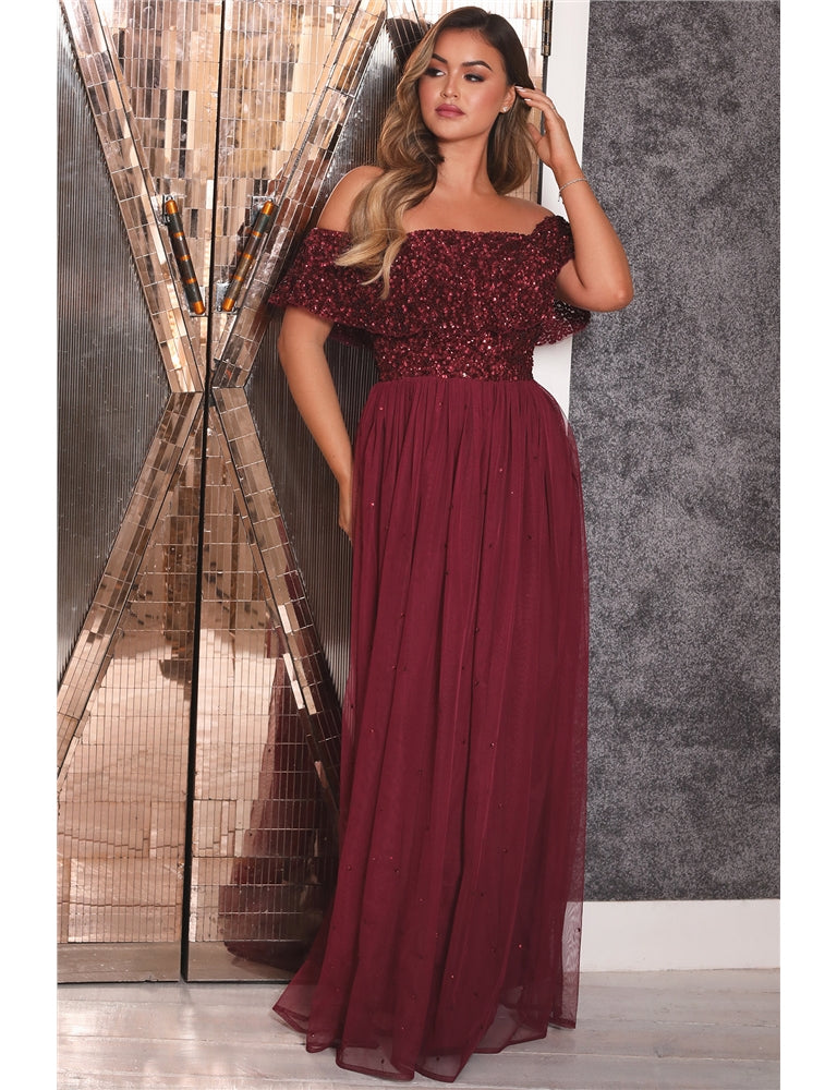 Kendall Berry Off The Shoulder Sequin Bardot Maxi Dress