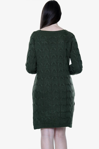 Cable Knitted Jumper Dress with Pockets
