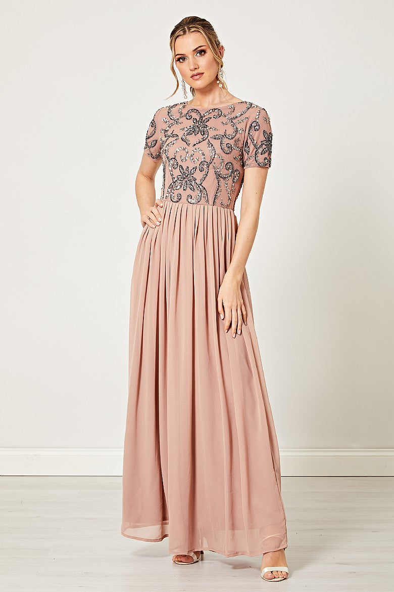 Lela Taupe Embellished Beaded Sequin Maxi Dress
