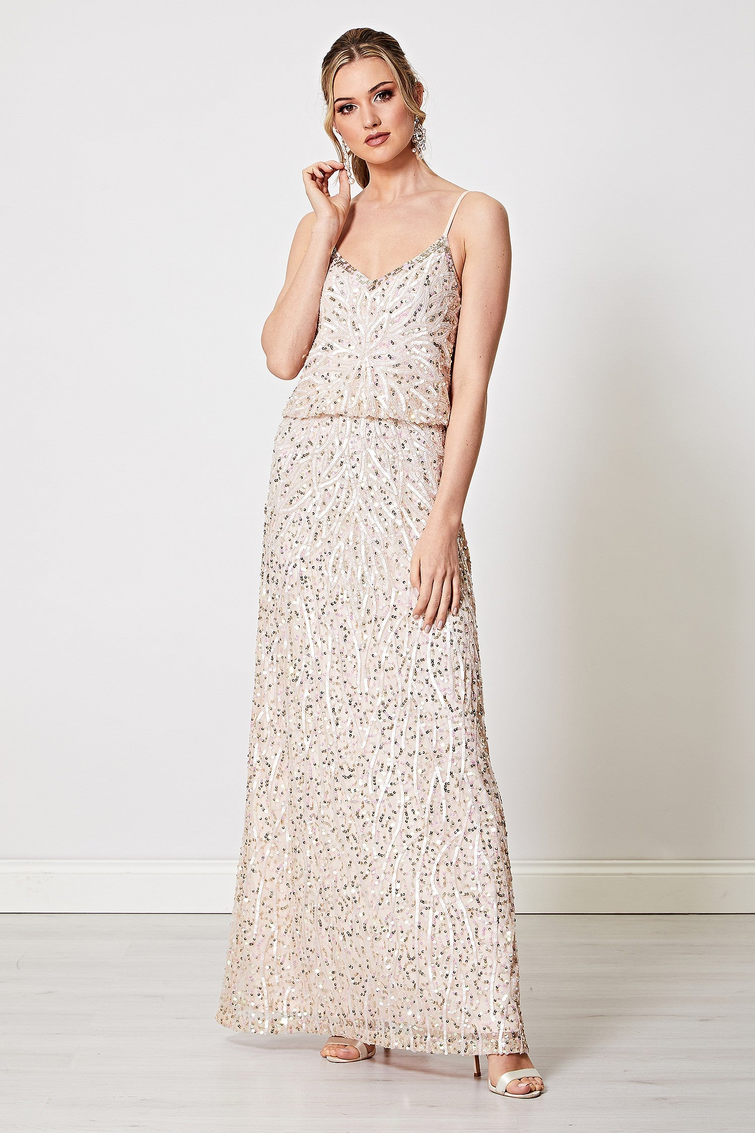 Agata Light Pink Embellished Sequin Cami Maxi Dress