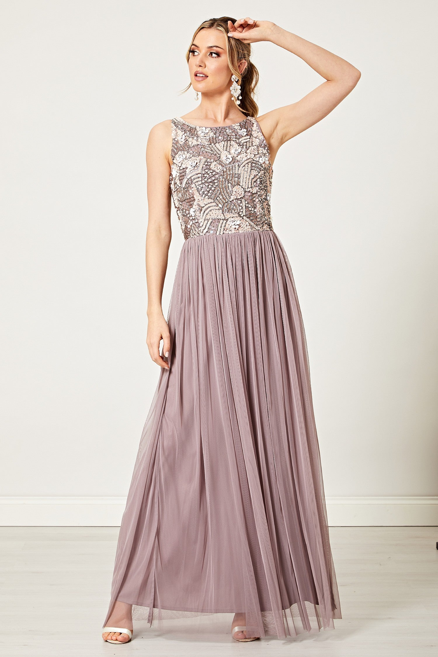 Marisa Light Purple Embellished Sequin High Neck Maxi Dress