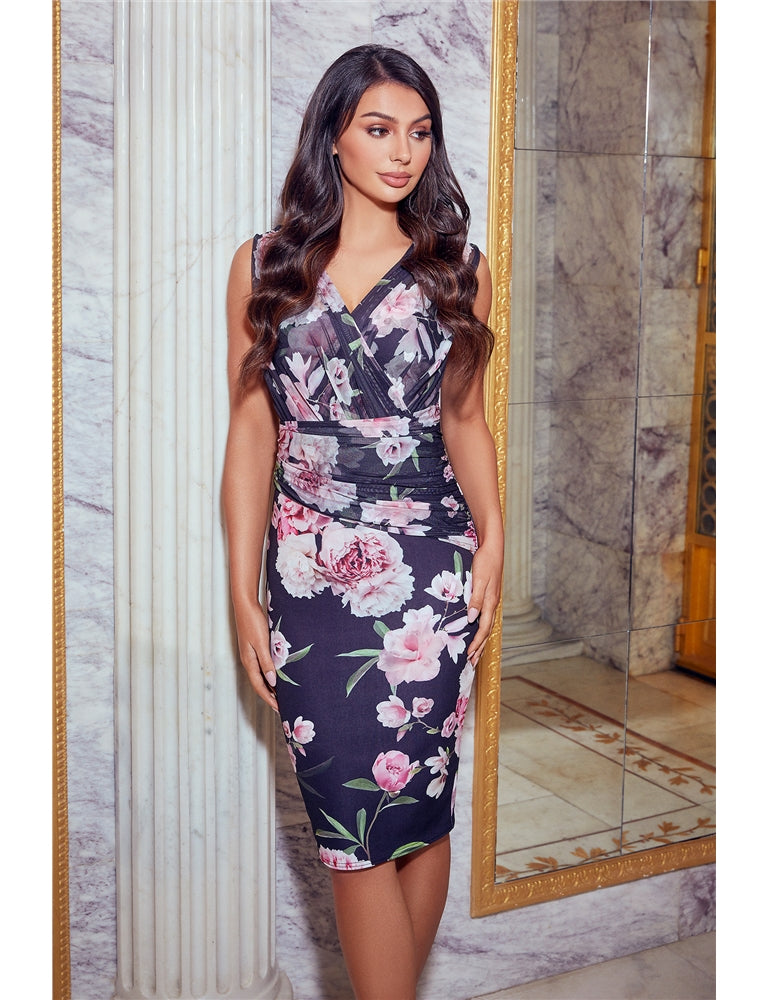 Molly Jessica Wright Black Floral Midi Dress