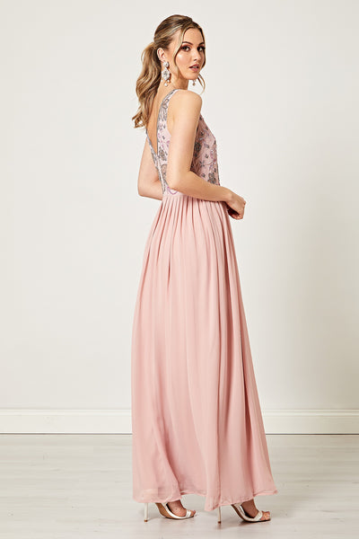Madonna Dusty Pink Embellished Sequin V Neck Maxi Dress