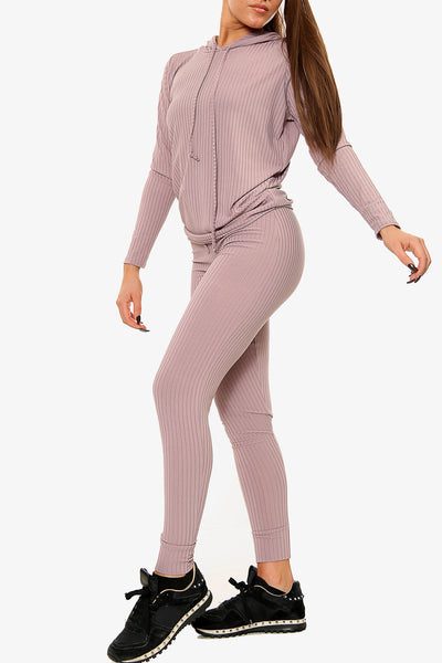 Hoodie & Jogger Ribbed Co-ord Lounge Set
