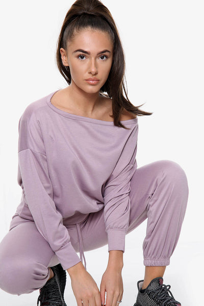 Ponte Off Shoulder Top & Jogger Lounge Set