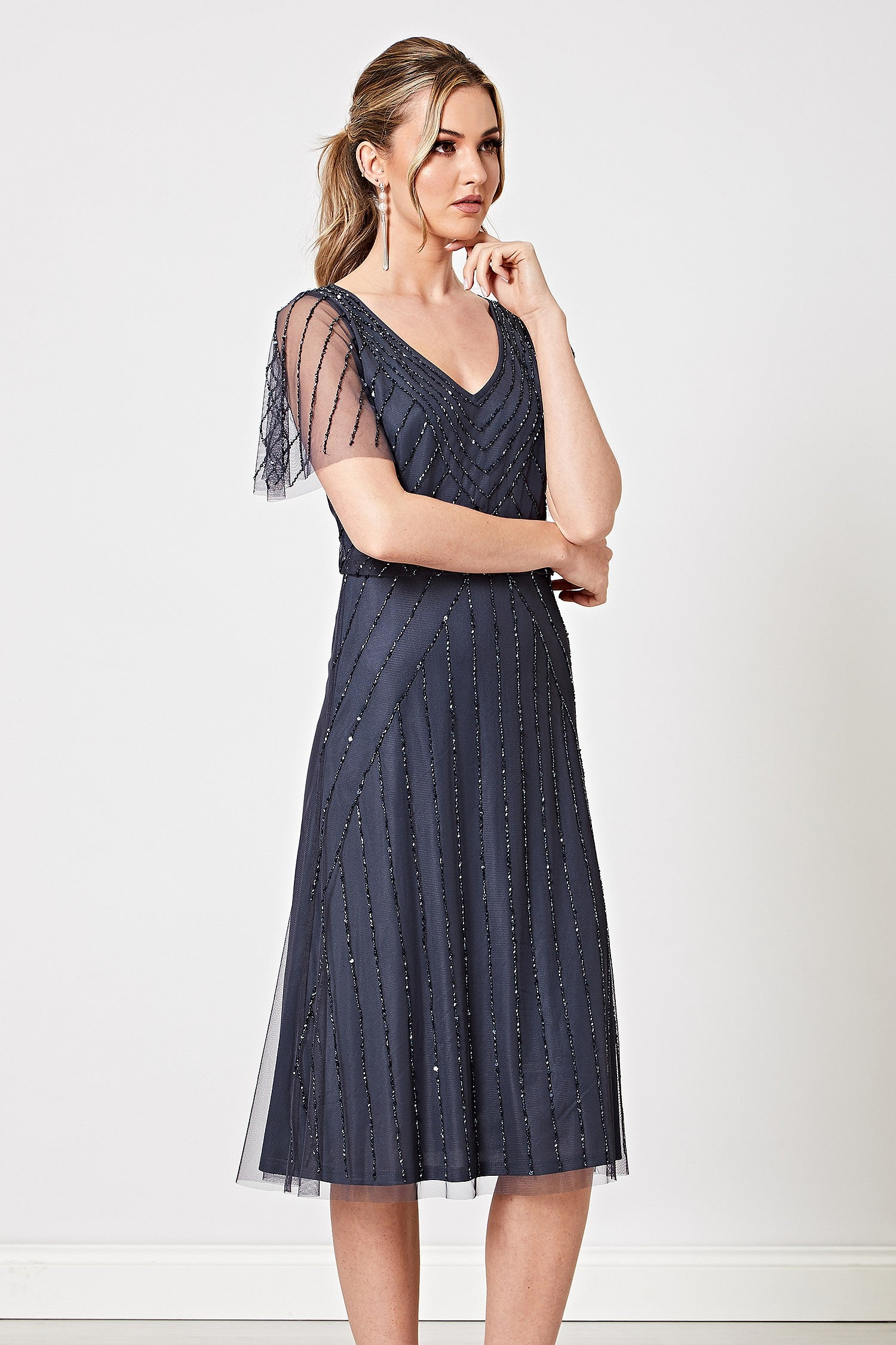 Natalia Navy Embellished Sequin Midi Dress