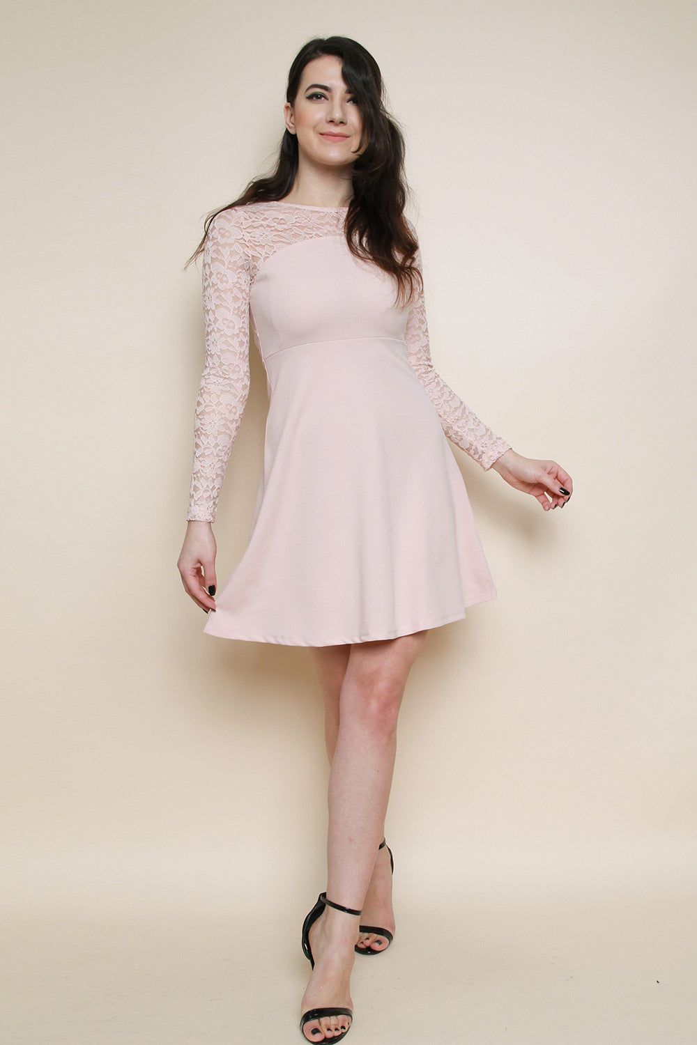 Lace Long Sleeve Skater Dress