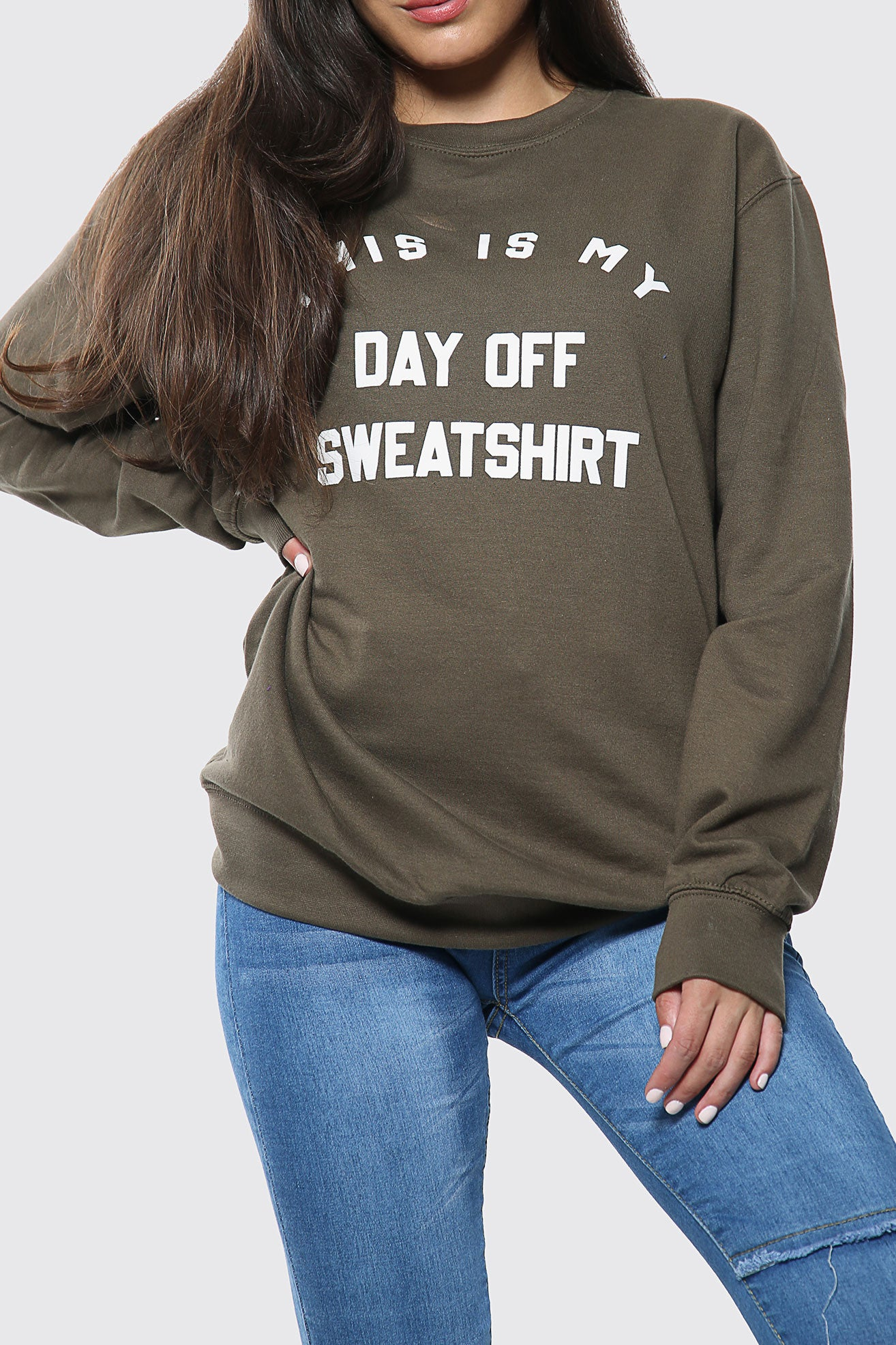 Day Off Slogan Oversized Sweatshirt