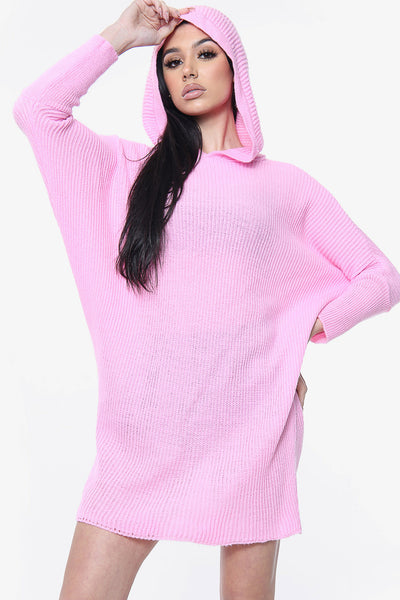 Hooded Batwing Knitted Jumper Dress