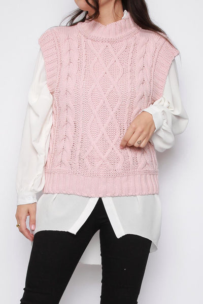 High Neck Knitted Vest