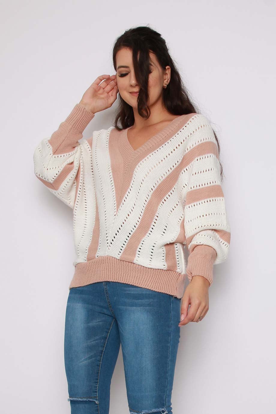 Chevron Stripe V-neck Knitted Jumper