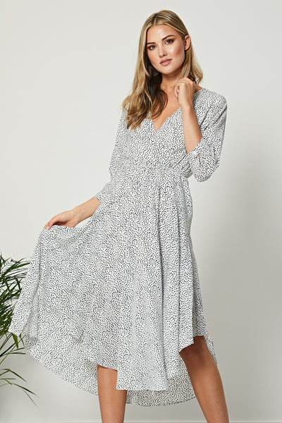White Irregular Polka Dot Wrap Front Midi Dress