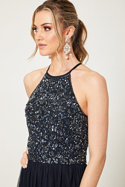 Ramona Navy Detail Embellished Halterneck Midi Dress