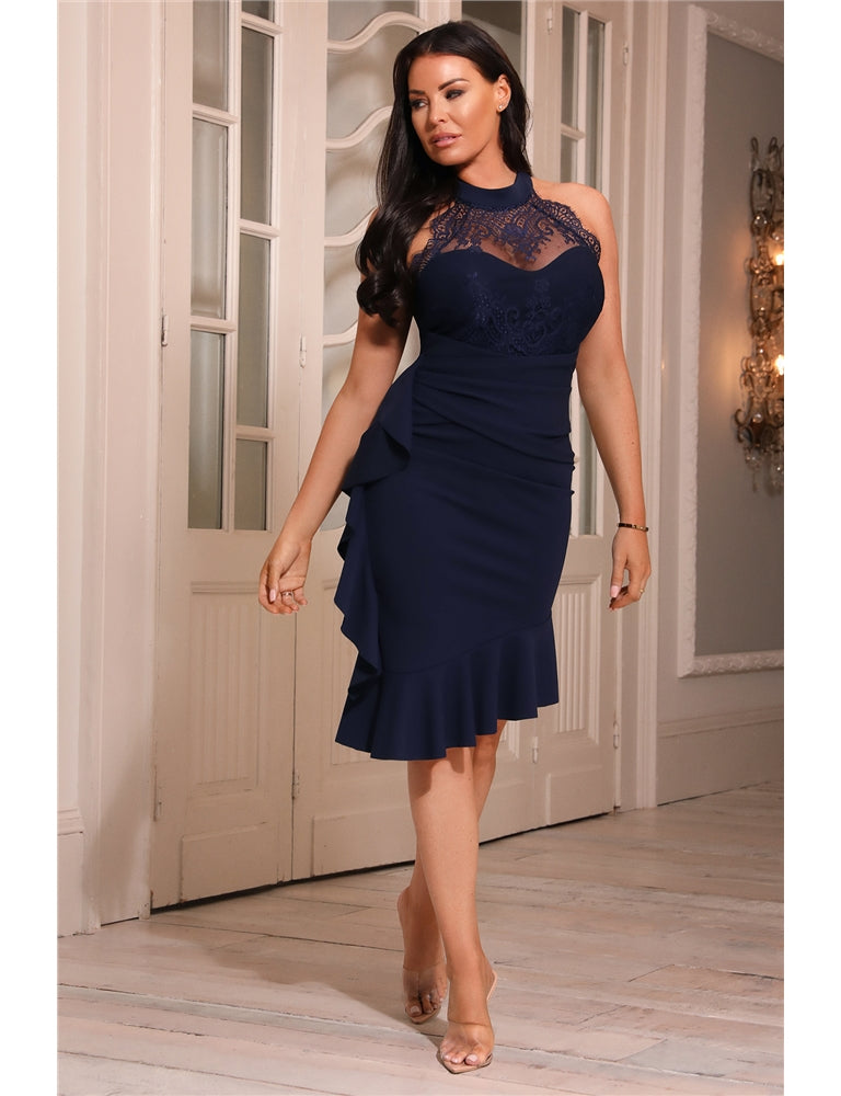 Renyina Jessica Wright Navy Lace Frill Dress