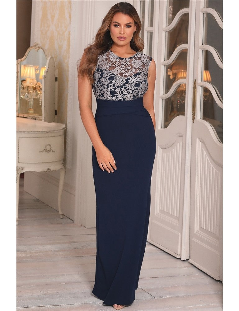 Tyler Jessica Wright Navy Lace Maxi Dress
