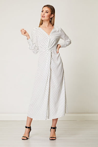 White Twist Front Polka Dot Maxi Dress