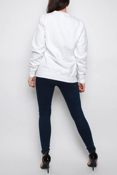 Red Lips Print Oversized Sweatshirt