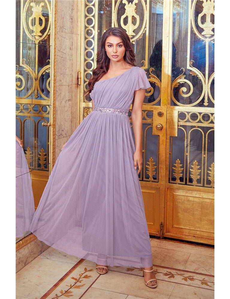 Mariah Lilac One Shoulder Sequin Belt Maxi Dress