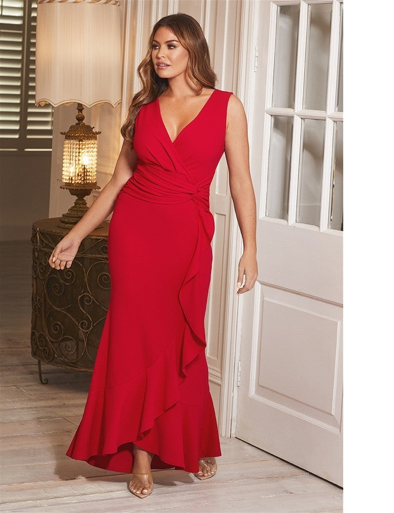 Anthea Jessica Wright Red Frill Hem Wrap V-Neck Maxi Dress