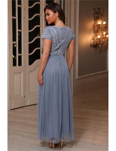 Lillis Blue Embellished Lace Maxi Dress